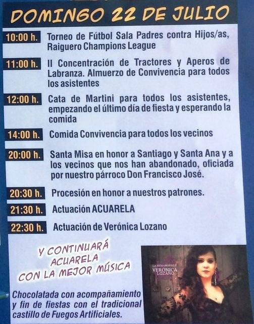 Las fiestas del Raiguero Bajo, en honor de Santiago Apóstol y Santa Ana, se celebran el próximo fin de semana del 20 al 22 de julio - 4, Foto 4