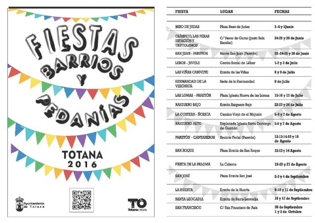 Continúa el calendario de festejos en barrios y pedanías de Totana programado para este verano 2016, Foto 1