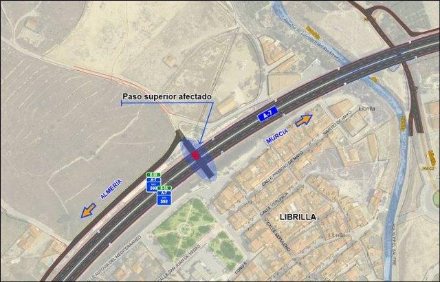 El Ministerio de Fomento ejecutará las obras de reparación del paso superior del P.K. 592+930 de la autovía A-7, en Librilla - 1, Foto 1
