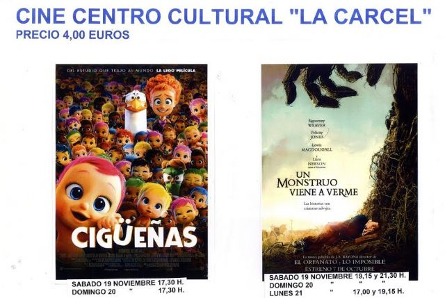 "Next weekend the films ""Storks"" and ""A monster comes to see me"" are projected in the theater of the Sociocultural Center ""La Cárcel"""