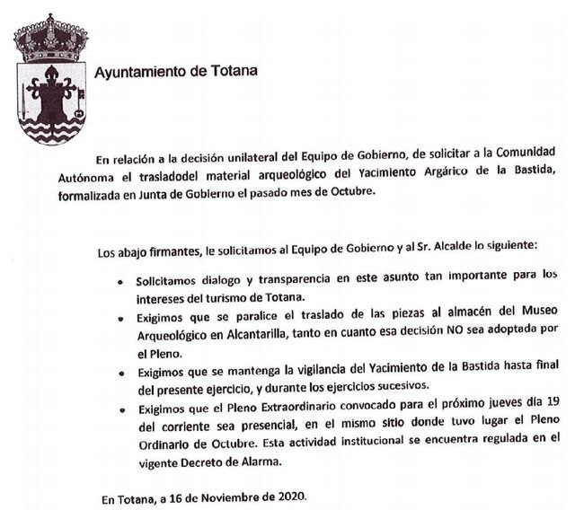Joint press release of the opposition groups in relation to La Bastida, Foto 1