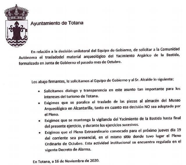 Statement from Acción Totana in defense of La Bastida, Foto 3