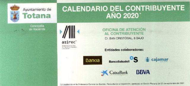 La Concejal�a de Hacienda hace p�blico el calendario del contribuyente del año 2020, con los conceptos y fechas previstas en per�odo voluntario, Foto 1