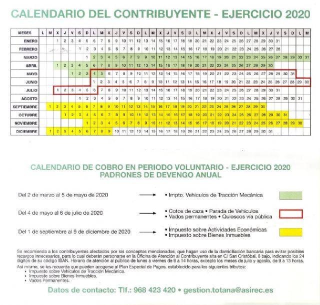 La Concejal�a de Hacienda hace p�blico el calendario del contribuyente del año 2020, con los conceptos y fechas previstas en per�odo voluntario, Foto 2