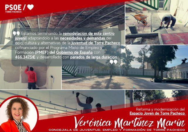 PSOE: Con el avance de las obras de modernización del Espacio Joven vamos a mejorar las alternativas de ocio y cultura de la juventud de Torre Pacheco - 1, Foto 1