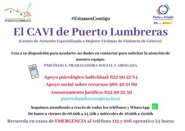 El Centro de Atención a Mujeres Víctimas de Violencia de Género de Puerto Lumbreras permanece activo durante el estado de alarma debido al Covid-19 - 1, Foto 1