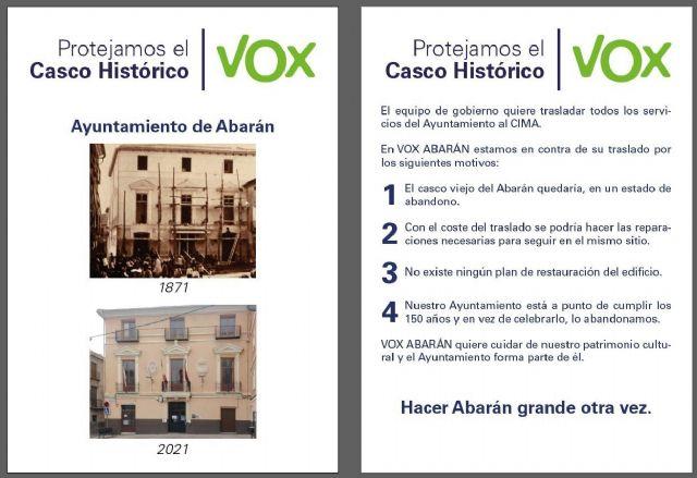 VOX Abarán se opone al traslado del actual edificio del Ayuntamiento al centro de usos múltiples - 1, Foto 1