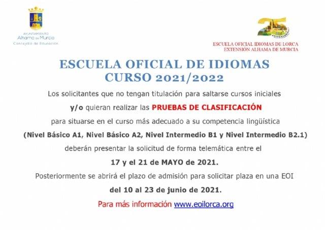 Abierto el plazo de solicitud de las pruebas de clasificación de la Escuela Oficial de Idiomas - 1, Foto 1