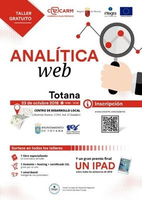 """Web Analytics"" is the free E-Commerce workshop that CECARM will carry out in the Local Development Center of Totana"