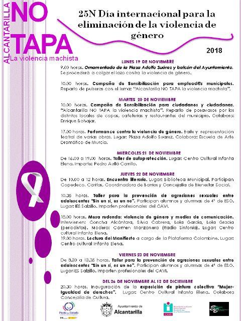 Alcantarilla comienza desde el lunes con los actos programados para conmemorar el 25N, con Alcantarilla NO TAPA la violencia machista - 2, Foto 2