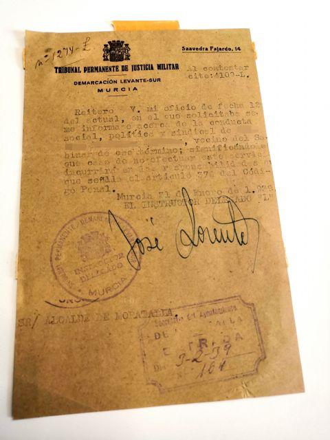 Entregado documento de la Guerra Civil al archivo municipal de Moratalla - 1, Foto 1