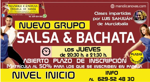 Salsa & Bachata y Sevillanas, nuevos cursos en la Escuela de Danza Manoli Cánovas