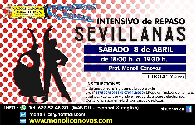 Salsa-bachata and sevillanas, new courses offered by the Manoli Cánovas Dance School for the month of April