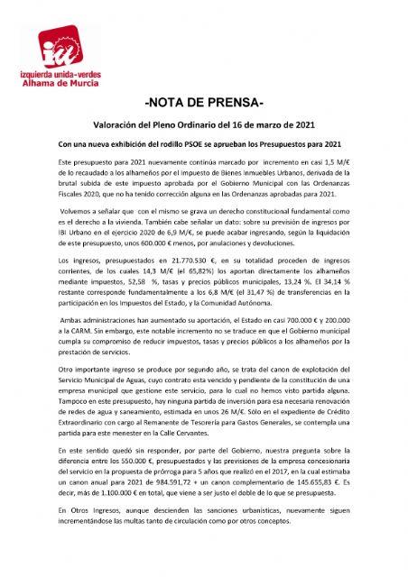 Valoración del Pleno Ordinario del 16 de marzo de 2021. IU-verdes Alhama de Murcia - 1, Foto 1