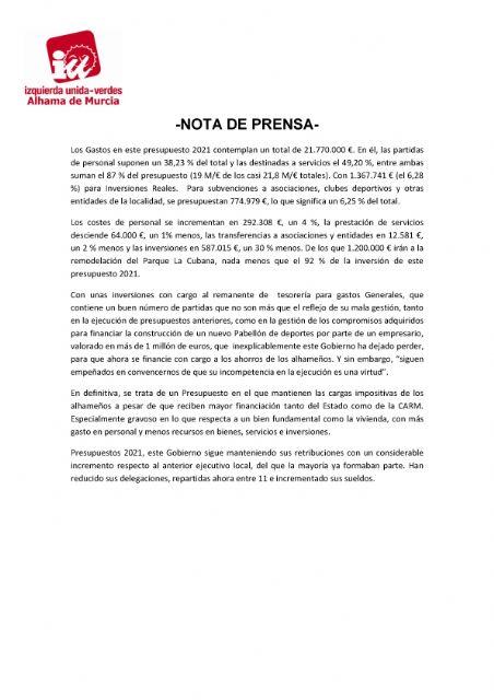 Valoración del Pleno Ordinario del 16 de marzo de 2021. IU-verdes Alhama de Murcia - 2, Foto 2