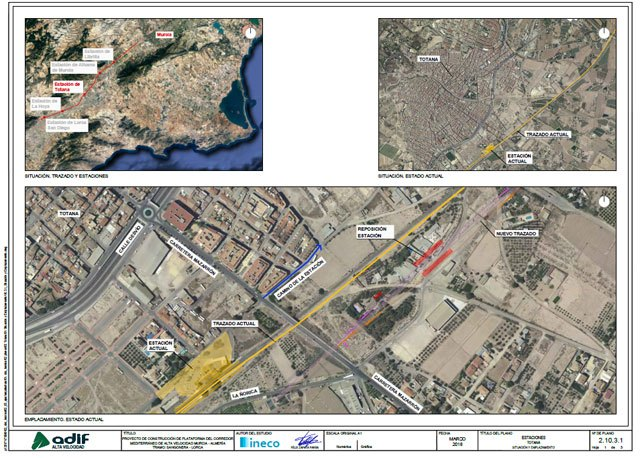 Adif will expropriate 394 properties in Totana for the construction of the AVE Murcia-Almería