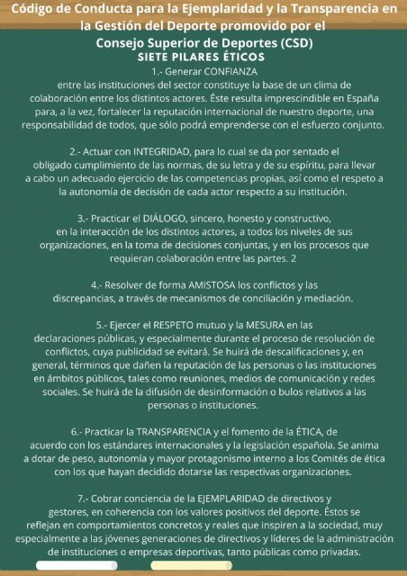 Salvamento y Socorrismo se adhiere al Código de Conducta para la Ejemplaridad y la Transparencia en la Gestión del Deporte - 1, Foto 1