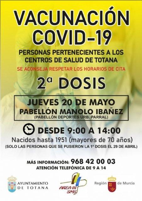 [Este jueves 20 de mayo tendrá lugar otra jornada de vacunación masiva para mayores de 70 años y la franja de edad comprendida entre los 50 a 59 años