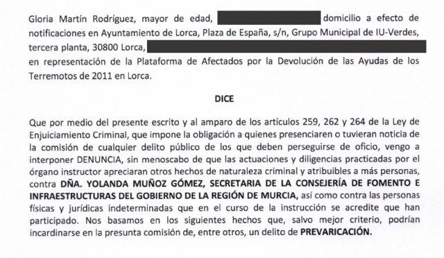 IU-Lorca denuncia en la Fiscalía a la Secretaria de Fomento por posible prevaricación - 1, Foto 1