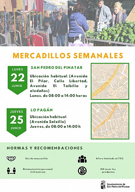 Los mercadillos semanales de San Pedro y Lo Pagán retoman sus ubicaciones habituales - 1, Foto 1
