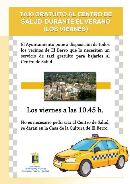 Servicio gratuito de taxi en El Berro para bajar al Centro de Salud, Foto 1