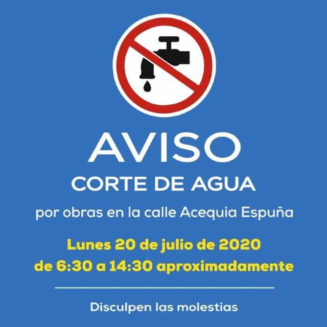 AVISO: corte de agua potable el lunes 20 de julio en varias zonas del municipio de Alhama - 1, Foto 1