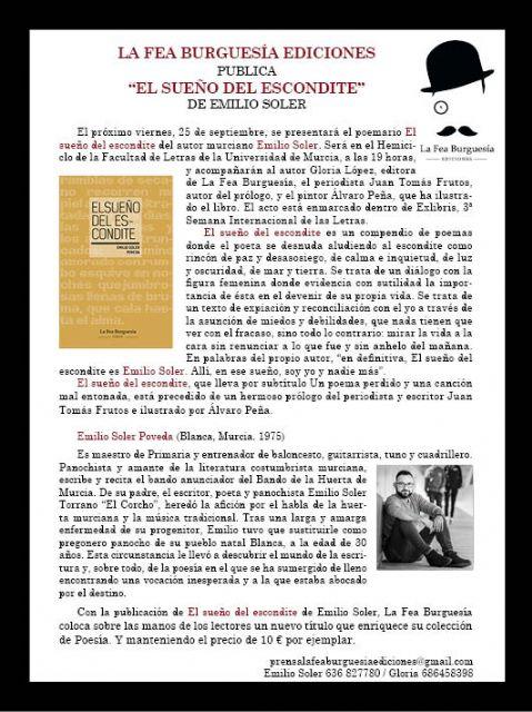 La Fea Burguesía Ediciones presenta el poemario El sueño del escondite de Emilio Soler - 1, Foto 1