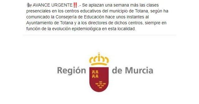 Se aplazan una semana más las clases presenciales en los centros educativos del municipio de Totana - 1, Foto 1