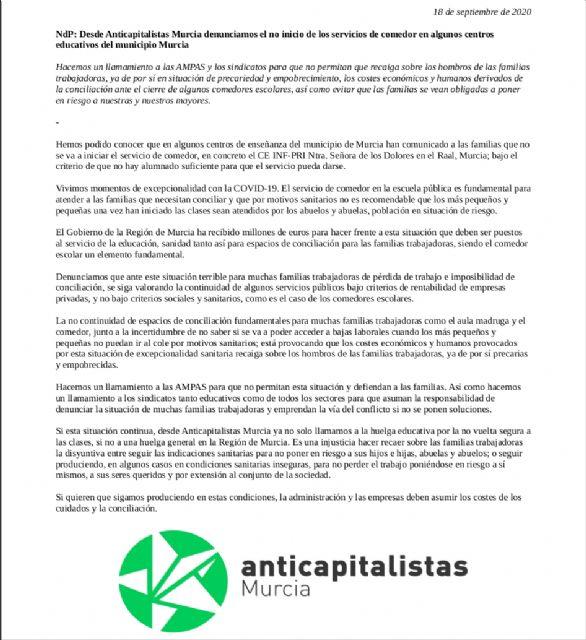 Anticapitalistas Murcia denuncia el no inicio de los servicios de comedor en algunos centros educativos del municipio Murcia - 1, Foto 1