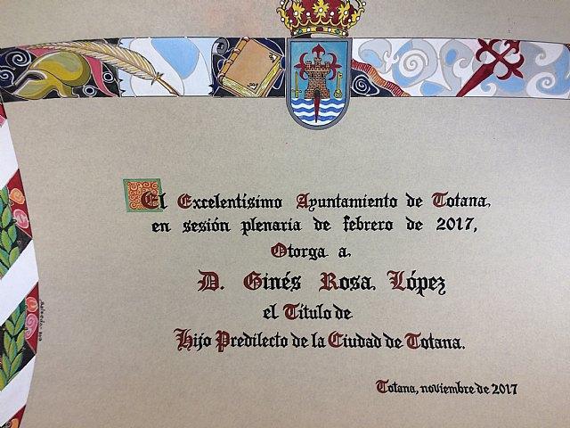 El acto de concesión del Título de Hijo Predilecto de la Ciudad de Totana al historiador Ginés Rosa será el 1 de diciembre, Foto 1