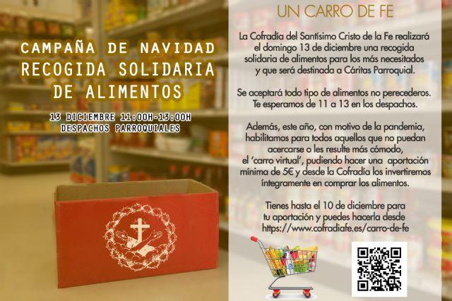 La Cofradía del Santísimo Cristo de la Fe realizará una recogida solidaria de alimentos para los más necesitado - 1, Foto 1