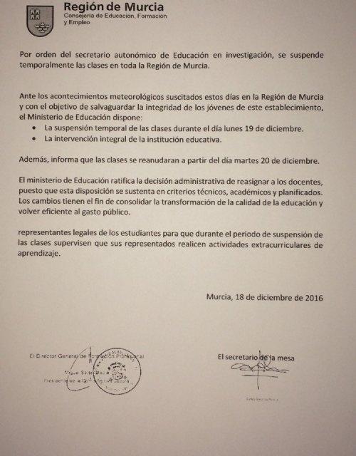 ÚLTIMA HORA: La Consejería de Educación comunica la suspensión de las clases mañana en los centros educativos de Totana, Foto 2