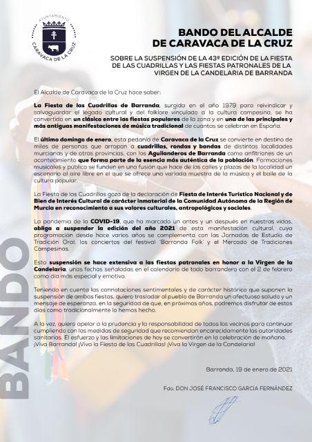La 43ª edición de la Fiesta de las Cuadrillas, que habría llenado de música y baile las calles de Barranda, queda oficialmente suspendida por la situación de emergencia sanitaria - 1, Foto 1