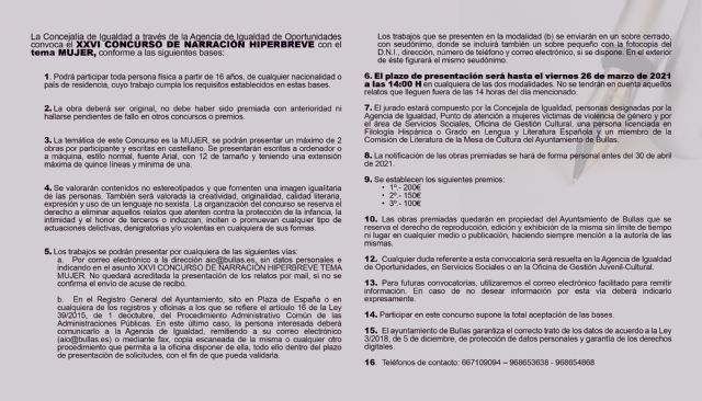 La Concejalía de Igualdad convoca el Concurso de Relatos Hiperbreves con el tema 'Mujer' - 1, Foto 1