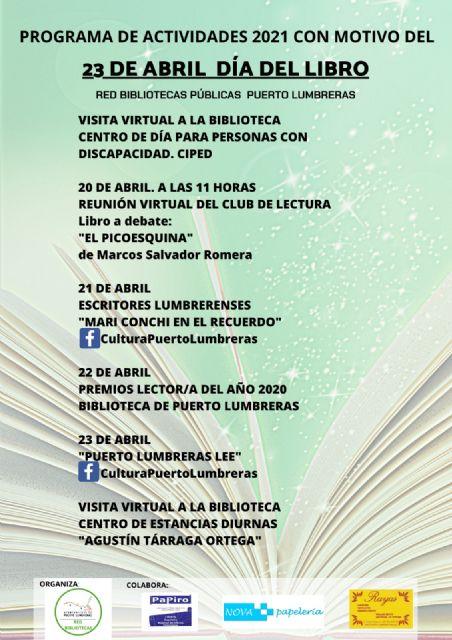 Puerto Lumbreras celebra el Día del Libro con varias actividades online orientadas al fomento de la lectura - 1, Foto 1