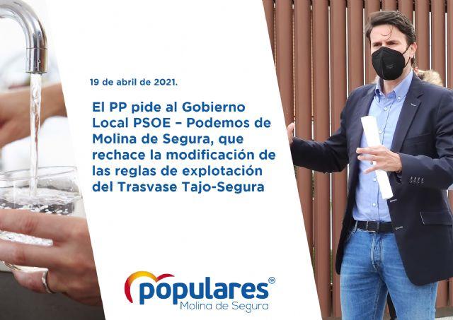El PP pide al Gobierno Local PSOE  Podemos de Molina de Segura, que rechace la modificación de las reglas de explotación del Trasvase Tajo-Segura - 1, Foto 1
