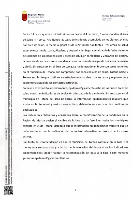 The mayor announces that the Government of Murcia will propose to the Ministry of Health that the Region go to phase 2, with the exception of Totana when accounting for 6 of the last 11 cases by COVID-19, Foto 4