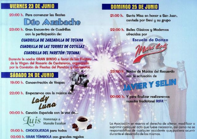 Las tradicionales fiestas del barrio de San Juan de la pedanía de El Paretón se celebran del 23 al 25 de junio, Foto 2