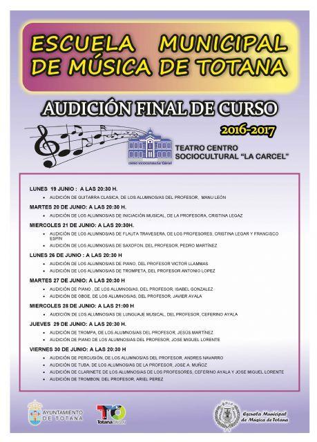 Hoy comienza el programa de audiciones en diferentes disciplinas musicales con motivo de la clausura del curso 2016/17 de la Escuela de Música, Foto 1