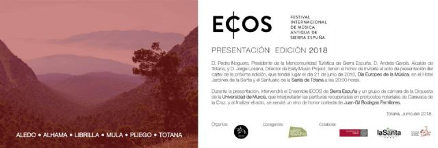 The ECOS International Festival of Ancient Music of Sierra Espuña presents its third edition this Thursday at the Hotel Jardines de La Santa