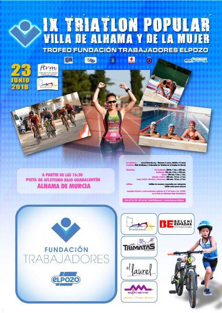 La Fundación de Trabajadores de ELPOZO patrocina y da nombre al Trofeo del IX Triatlón Popular Villa de Alhama y de la Mujer por segundo año consecutivo, Foto 2