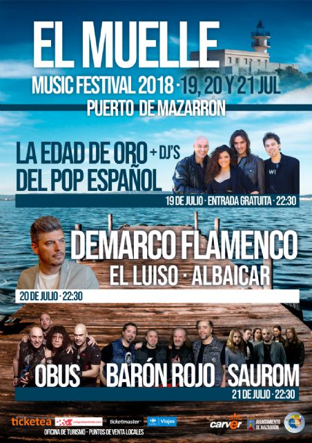 La edad de oro del Pop español, Demarco y el rock de Barón Rojo , Obús y Saurom animarán las noches de el Muelle Music Festival, Foto 1