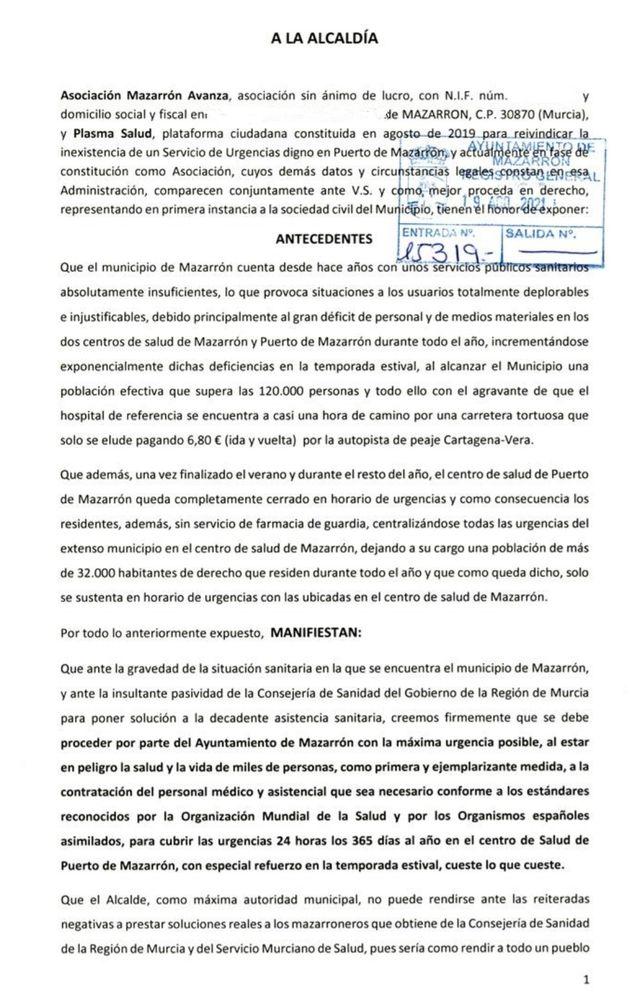 Piden que las urgencias del Centro de Salud de Puerto de Mazarrón estén abiertas las 24 horas del día, los 365 dias del año - 1, Foto 1