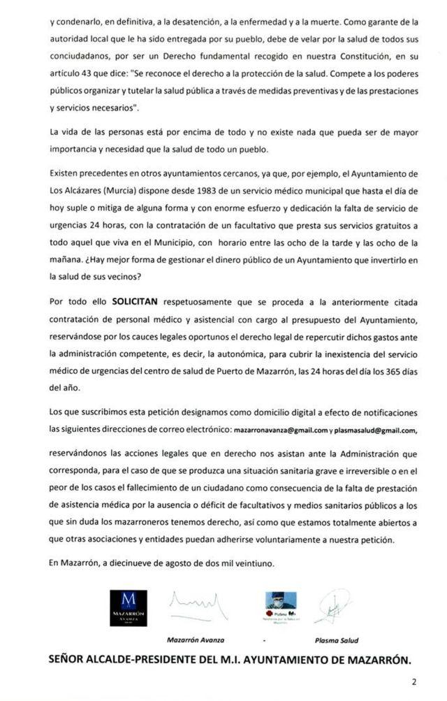 Piden que las urgencias del Centro de Salud de Puerto de Mazarrón estén abiertas las 24 horas del día, los 365 dias del año - 2, Foto 2