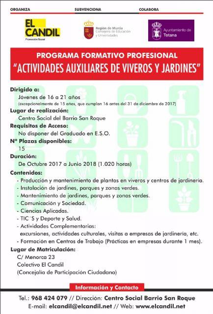 Abierto el plazo de matriculación para el programa formativo profesional de actividades auxiliares de viveros y jardines - 1, Foto 1