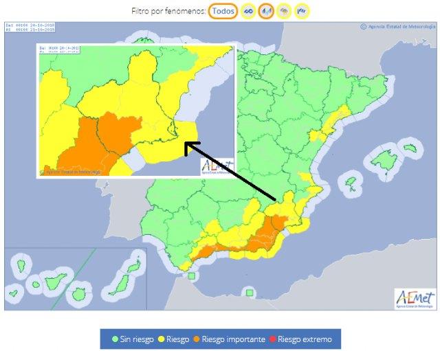 Protección Civil Totana alerta de que se esperan fuertes lluvias en la Región de Murcia mañana sábado - 1, Foto 1