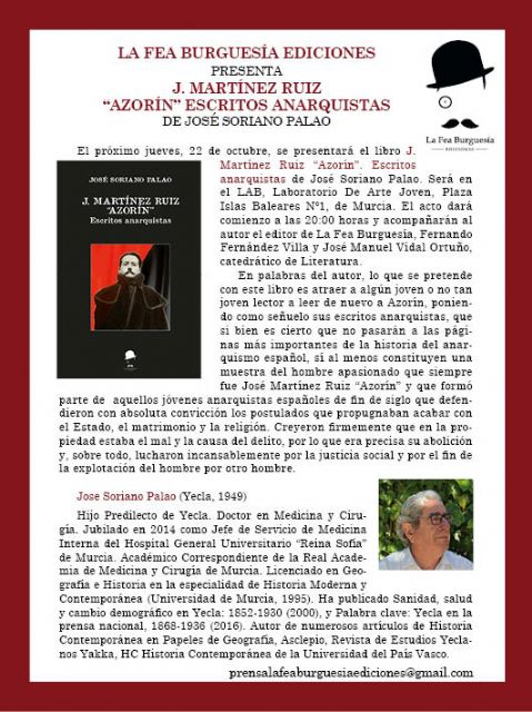 La Fea Burguesía Ediciones presenta J. Martínez Ruiz Azorín Escritos anarquistas, de José Soriano Palao - 1, Foto 1