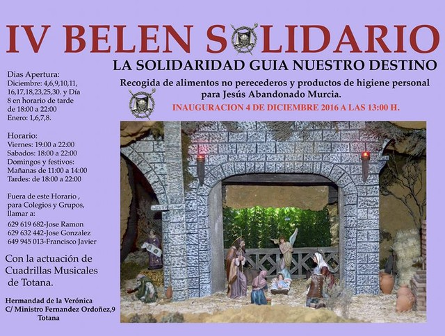 The IV Belén solidarity of the Brotherhood of the Veronica will be inaugurated Sunday 4 of December