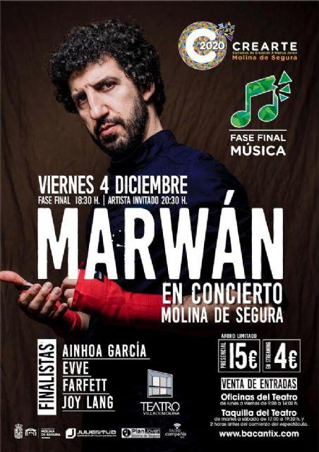 La fase final de la modalidad de música del Certamen de Creación Artística Joven CREARTE 2020 de Molina de Segura se celebra el viernes 4 de diciembre con MARWAN como artista invitado - 1, Foto 1