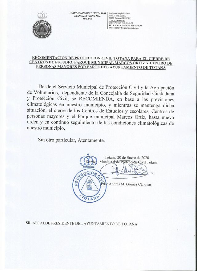 The mayor of Totana clarifies the suspension side of classes on social networks, Foto 2